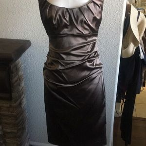 This gorgeous brown satin dress is perfect!